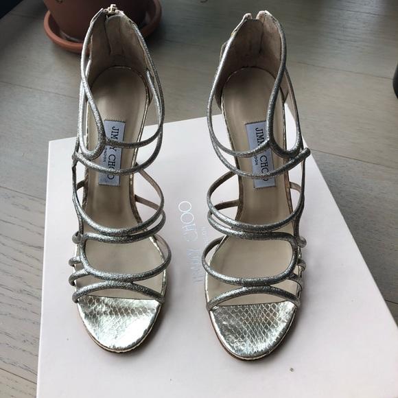 87ed4c8580 Jimmy Choo Shoes | Champagne Glitter Fabric Sandals | Poshmark